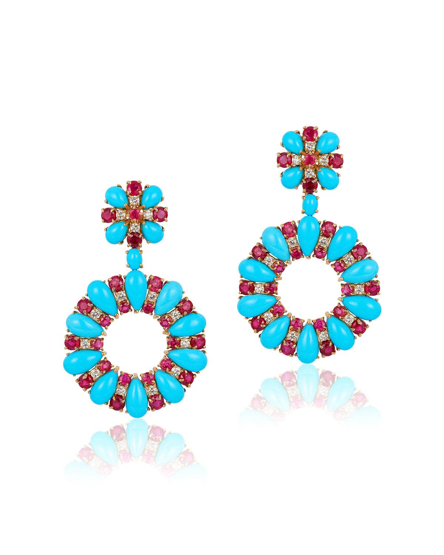 ANDREOLI 18K White Gold, Turquoise, Diamond & Ruby Earrings