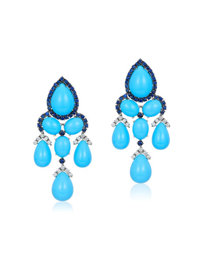 18k White Gold, Turquoise, Diamond & Sapphire Earrings