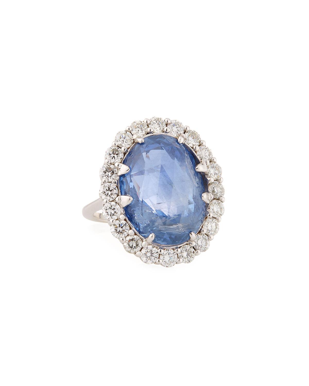 ANDREOLI 18K White Gold Sapphire & Diamond Ring, Size 6.75