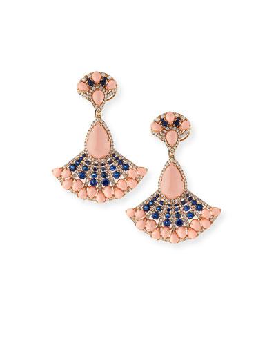 18k Angel Skin Coral, Sapphire & Diamond Earrings