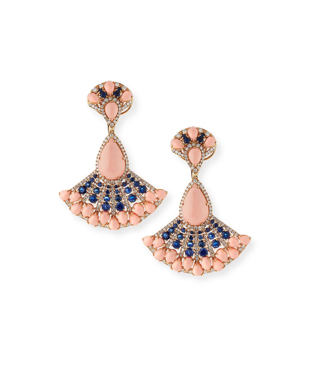 ANDREOLI 18K Angel Skin Coral, Sapphire & Diamond Earrings