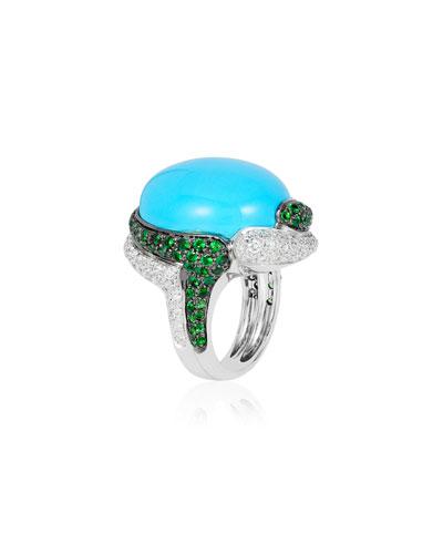 18k White Gold Turquoise, Diamond & Tsavorite Ring, Size 7
