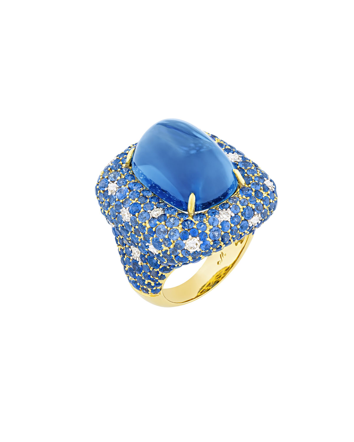 Marbella 18k Gold & Denim Blue Topaz Ring