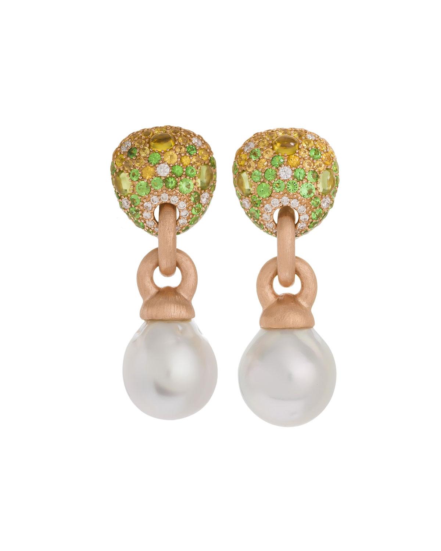 18k Green Stone & Baroque Pearl Drop Earrings