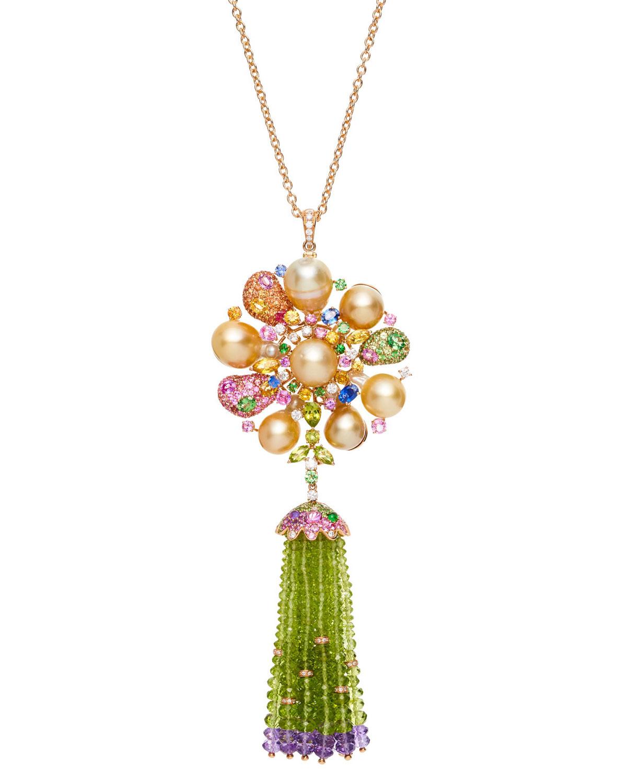 MARGOT MCKINNEY JEWELRY 18K Rose Gold Pearl Blossom & Tassel Pendant Necklace