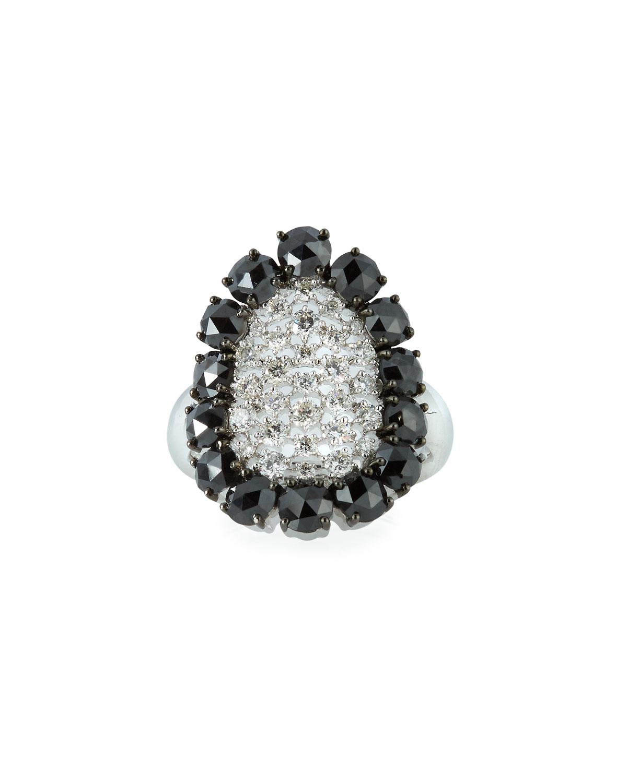 SUTRA 18K White Gold Scintillate Black & White Diamond Ring