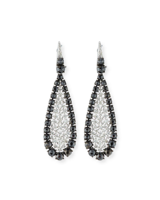 SUTRA 18K White Gold Scintillate Black & White Diamond Earrings