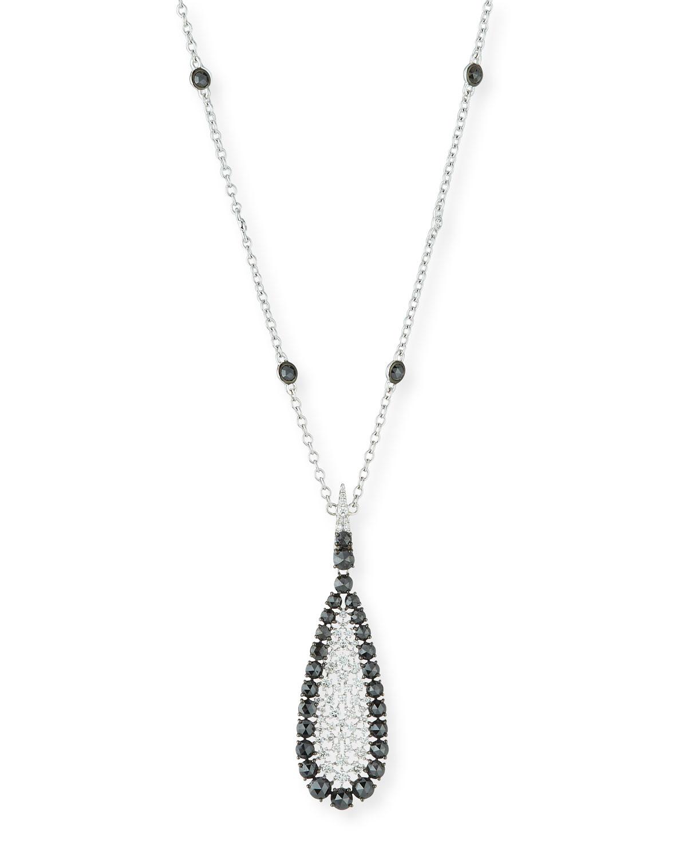 SUTRA 18K White Gold Scintillate Black & White Diamond Pendant Necklace
