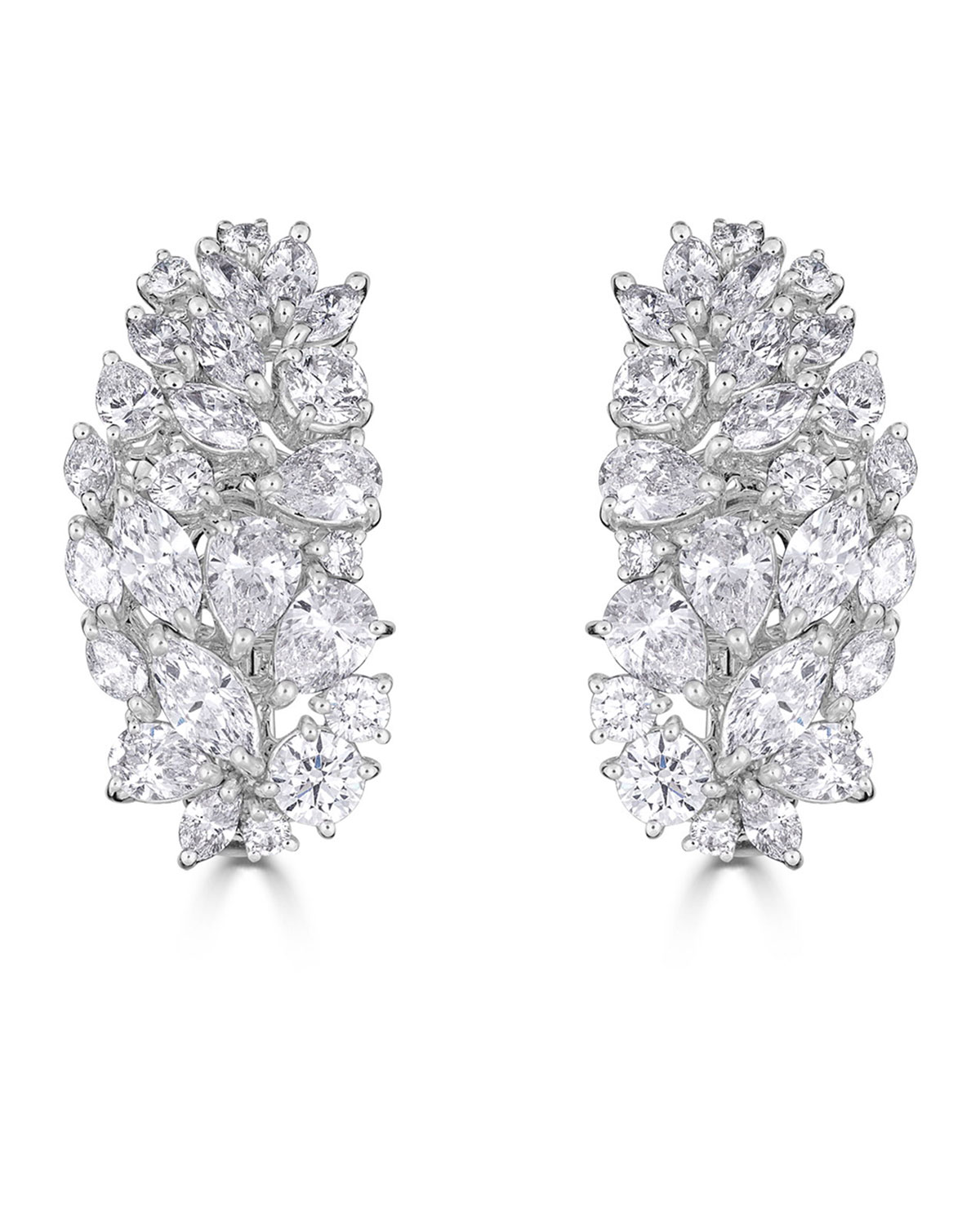 ZYDO Luminal 18K White Gold Diamond Cluster Earrings, 6.8Tcw