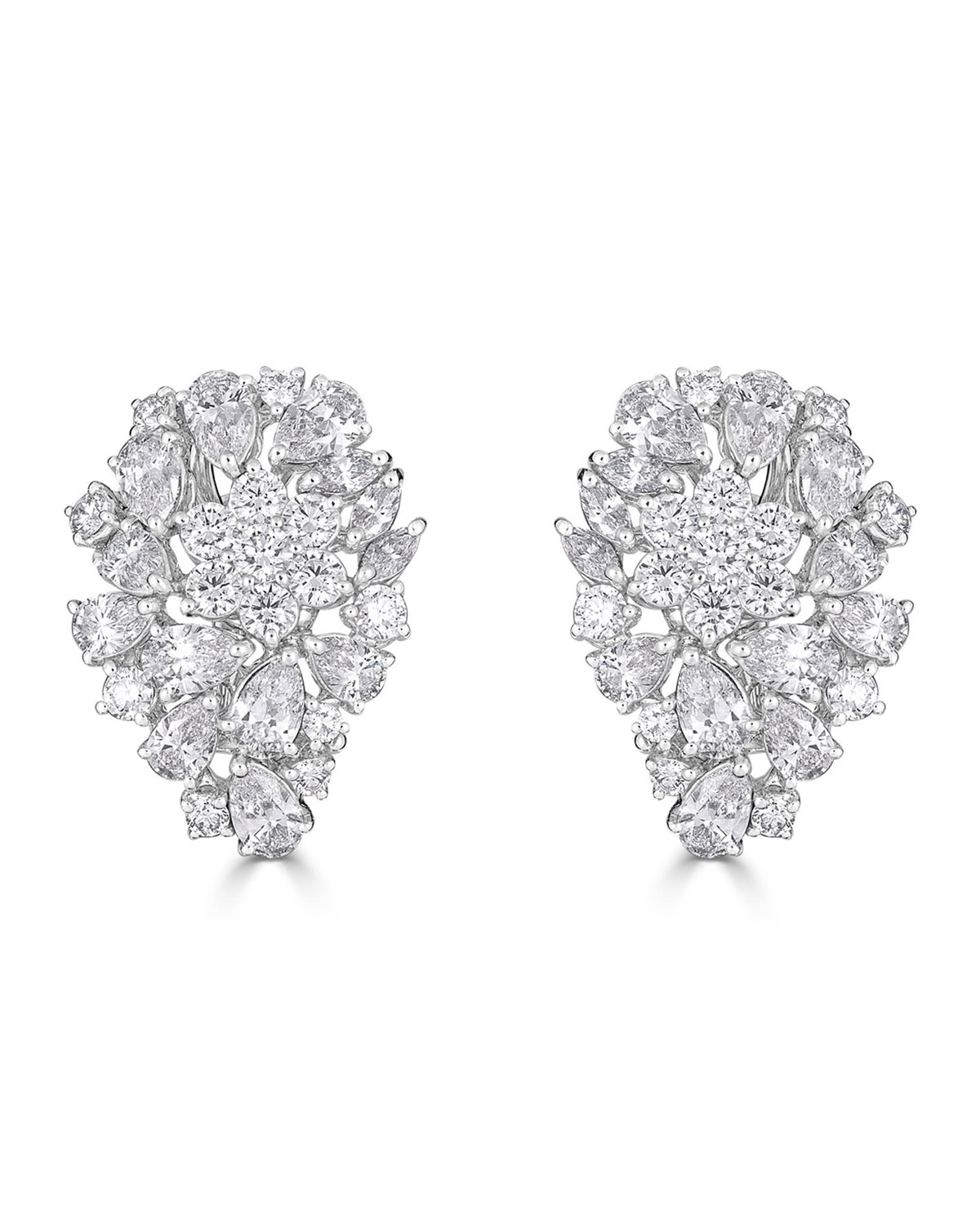 ZYDO Luminal 18K White Gold Diamond Flower Cluster Earrings