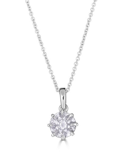 Mosaic 18k White Gold Round Diamond Pendant Necklace