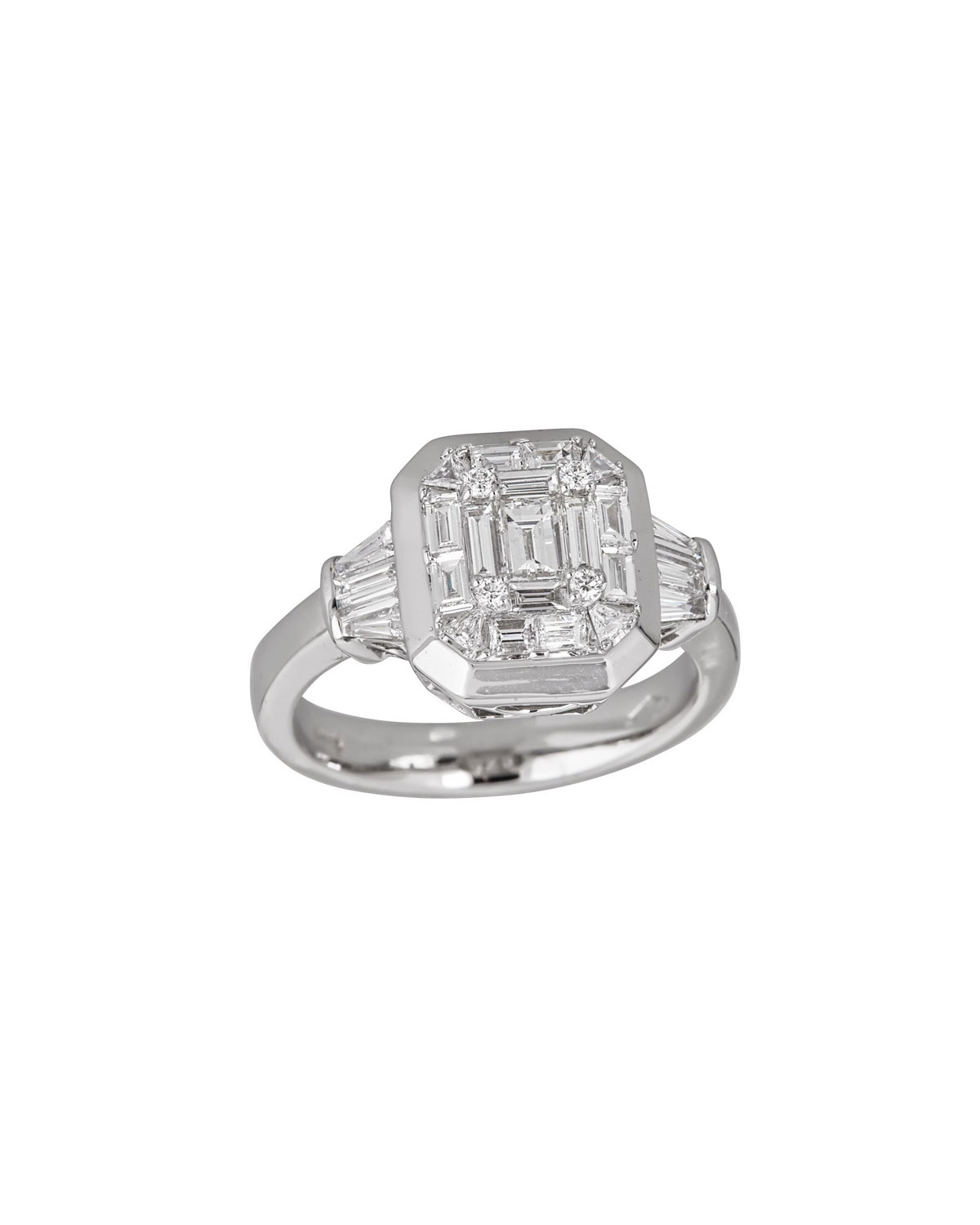 ZYDO Mosaic 18K White Gold Diamond Octagonal Ring, Size 6.5