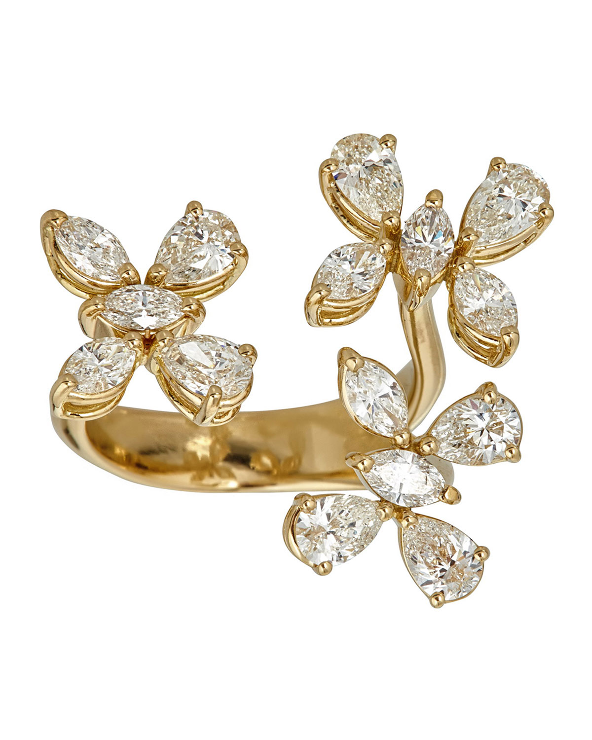 ZYDO Luminal 18K Gold 3-Flowers Diamond Ring, Size 7