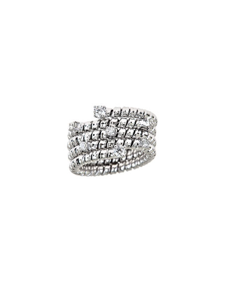 ZYDO Spiral 18k White Gold Diamond Coil Ring