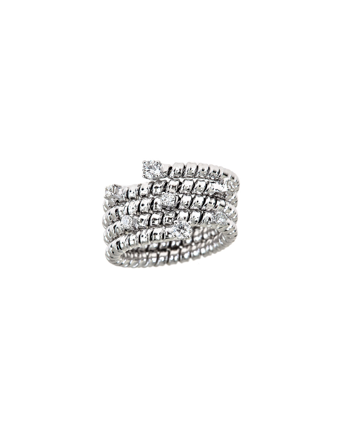 ZYDO Spiral 18K White Gold Diamond Coil Ring