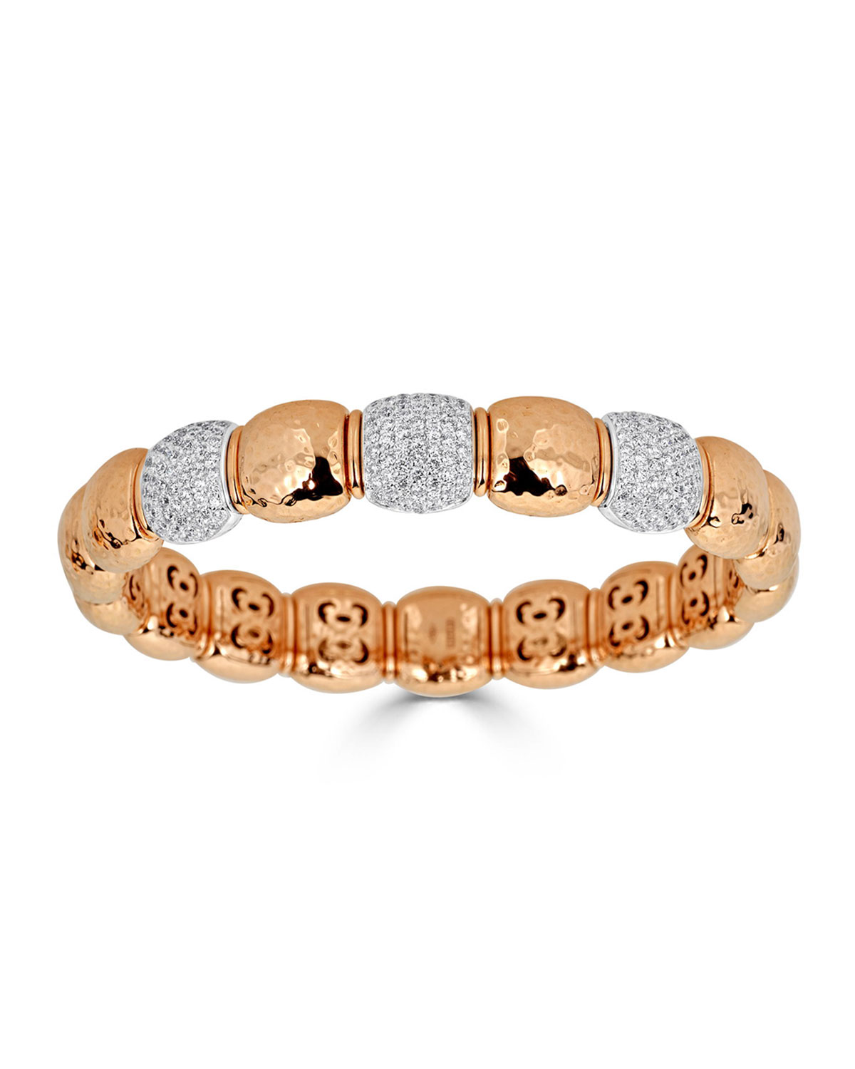 ZYDO Stretch 18K Gold Triple-Diamond Pave Bracelet