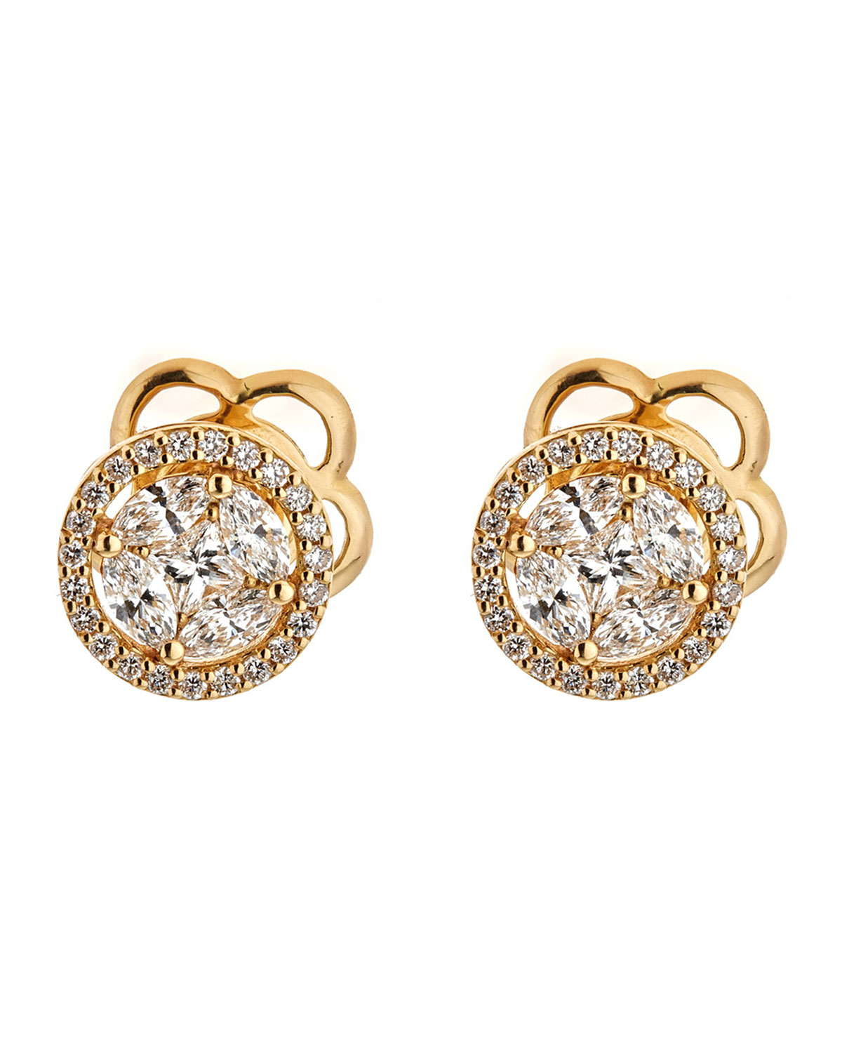ZYDO Mosaic 18K Gold & Diamond Round Stud Earrings