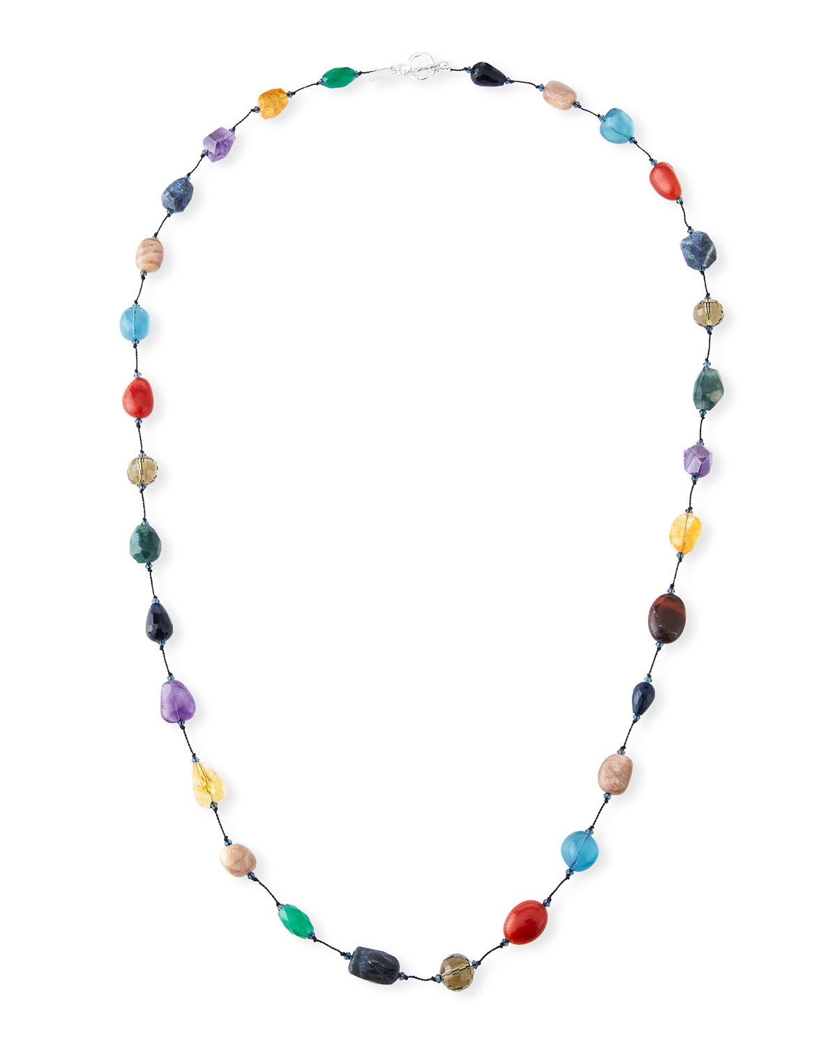 "MARGO MORRISON Long Mixed-Stone Necklace, 35""L"