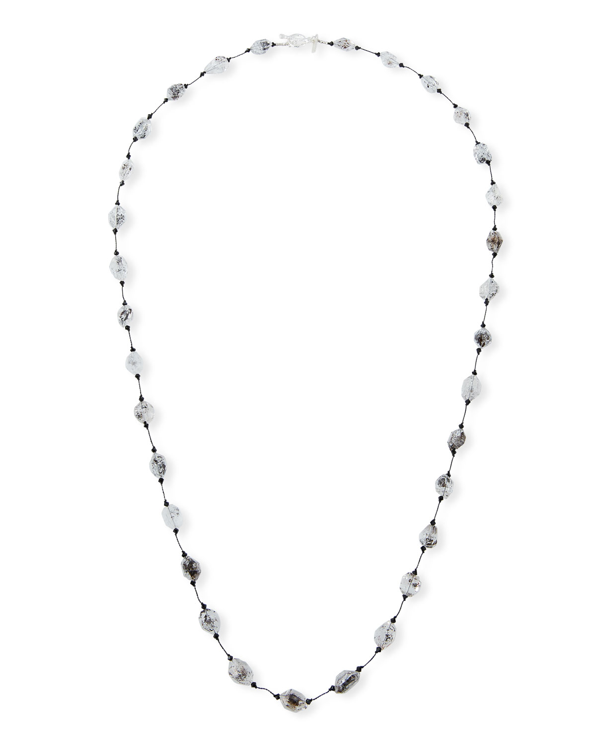 "MARGO MORRISON Herkimer Quartz Diamond Necklace, 35""L"