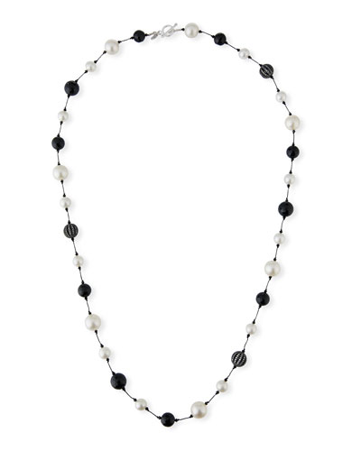 Pearl, Onyx & Crystal Ball Necklace, 35