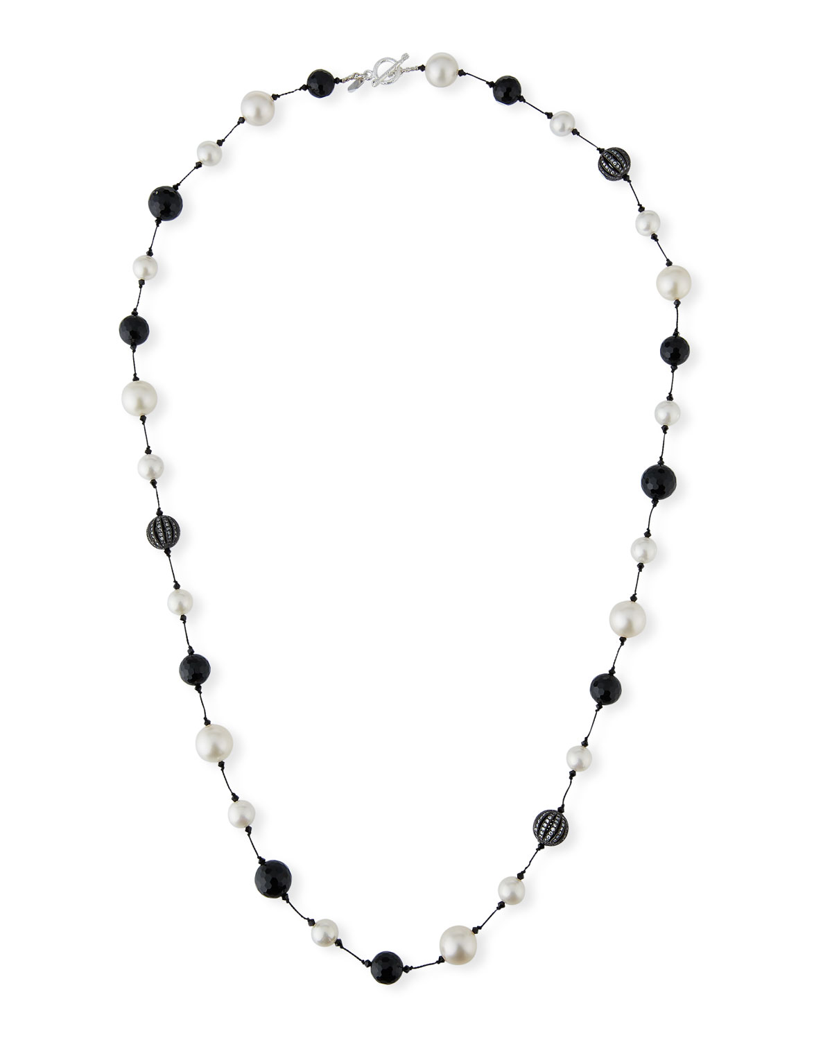 "MARGO MORRISON Pearl, Onyx & Crystal Ball Necklace, 35""L"