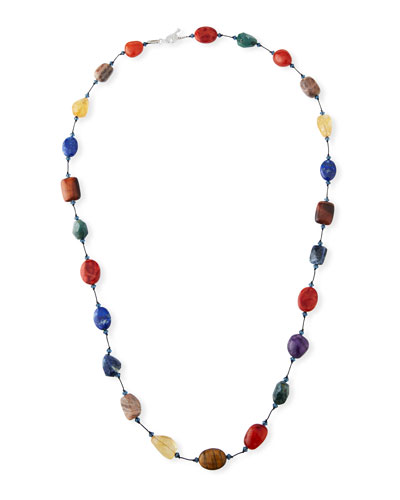 Long Multi-Stone Necklace, 35
