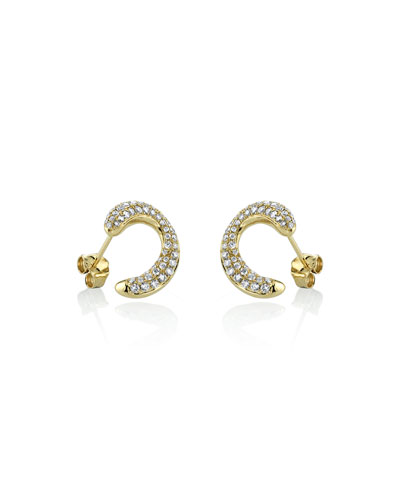 14k Front-to-Back Diamond Link Stud Earrings