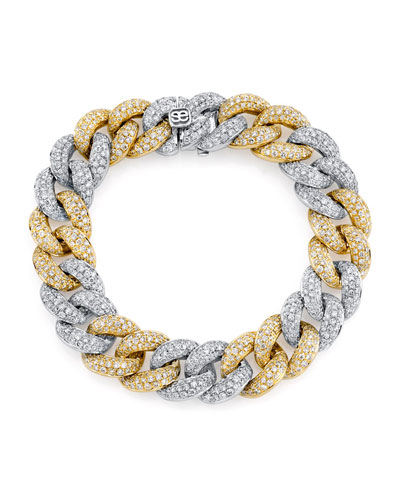 2-Tone 14k Gold Diamond Link Bracelet