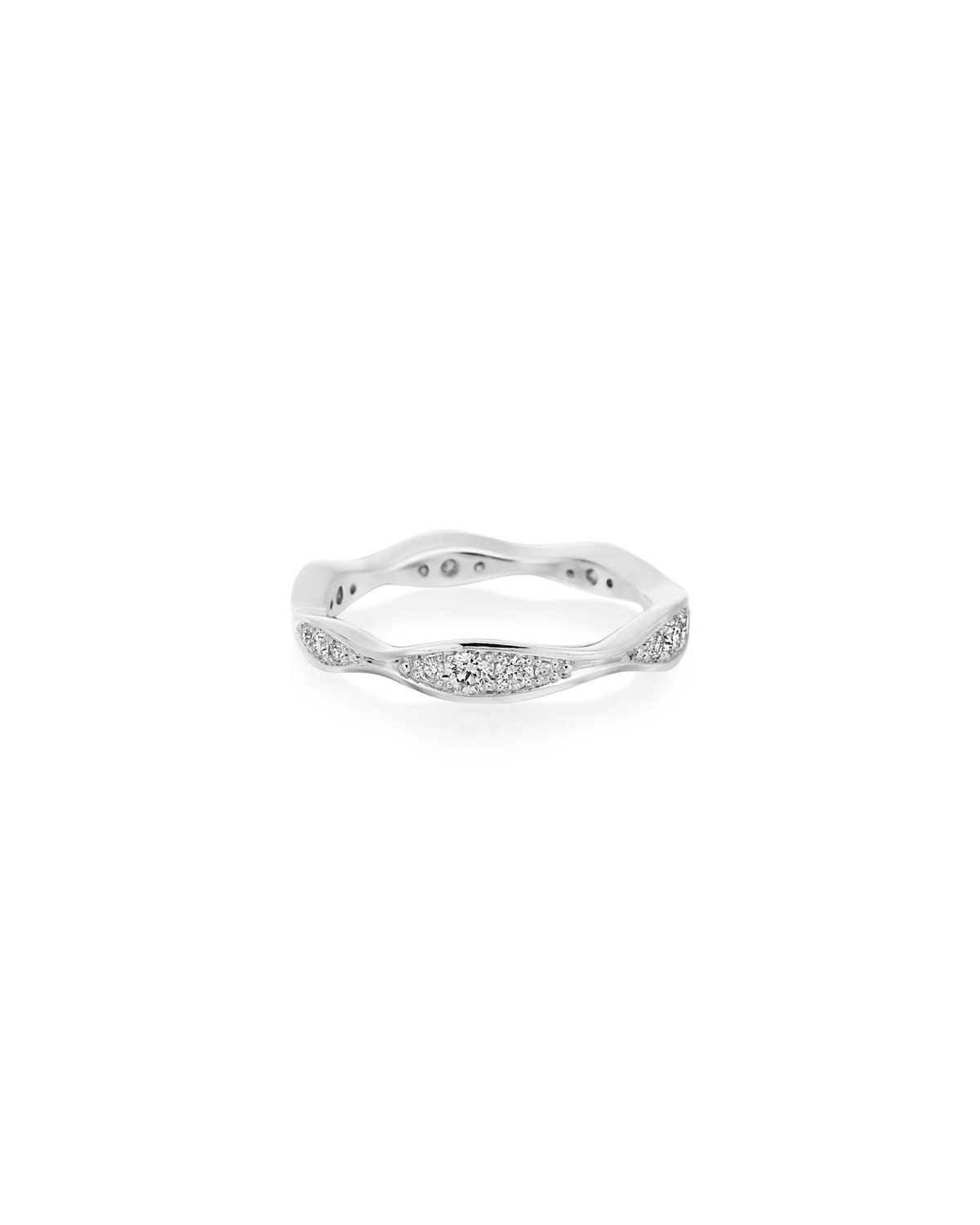 MARIA CANALE 18K White Gold Diamond Narrow Wave Ring