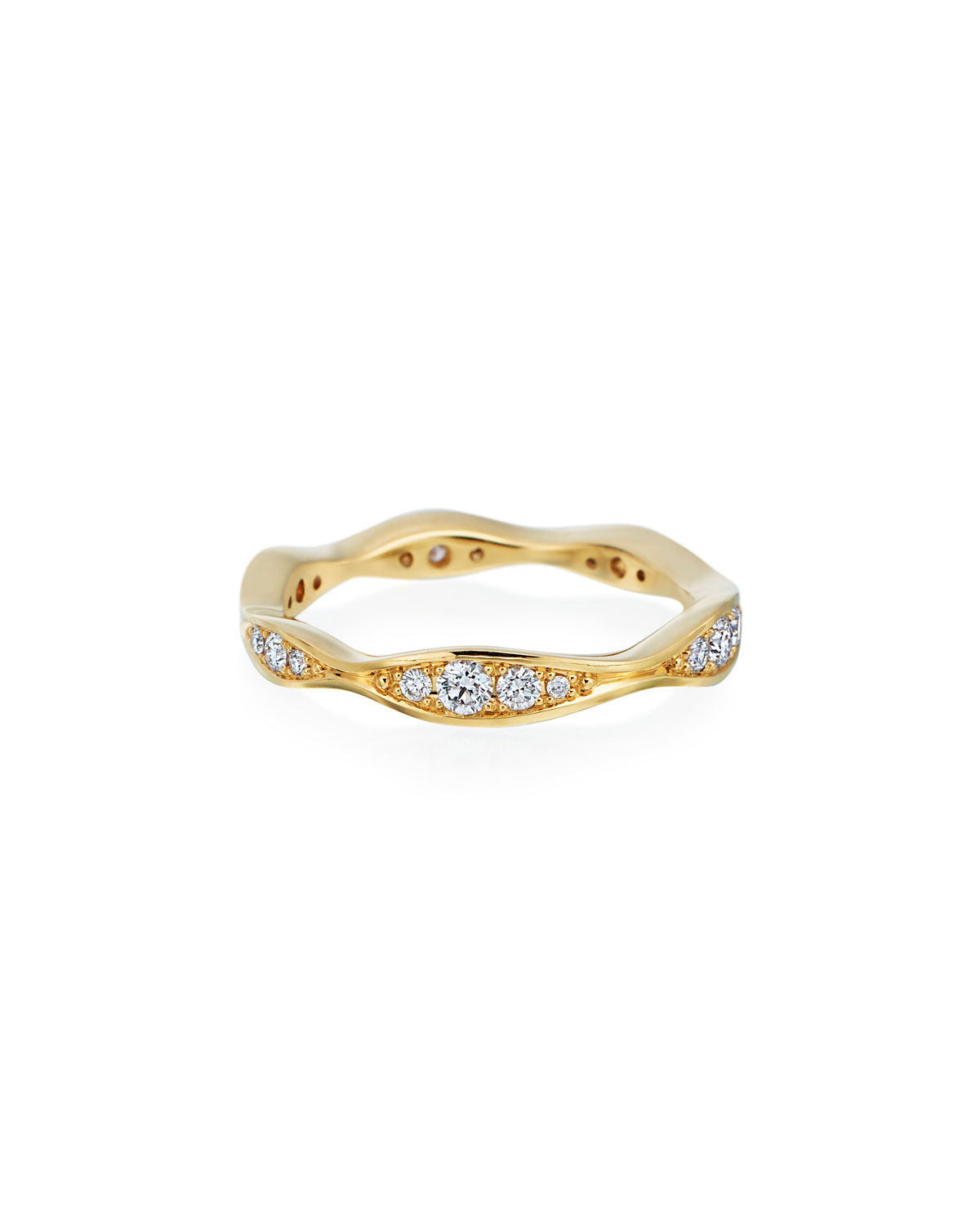 MARIA CANALE 18K Gold Diamond Narrow Wave Ring