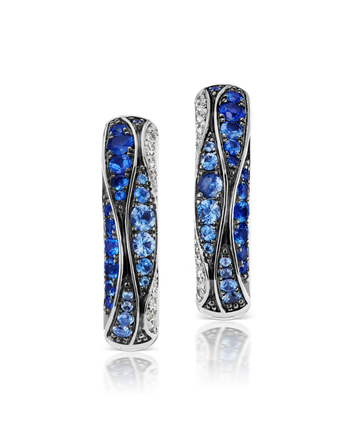 MARIA CANALE 18K White Gold Sapphire & Diamond Earrings