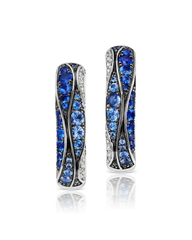 18k White Gold Sapphire & Diamond Earrings