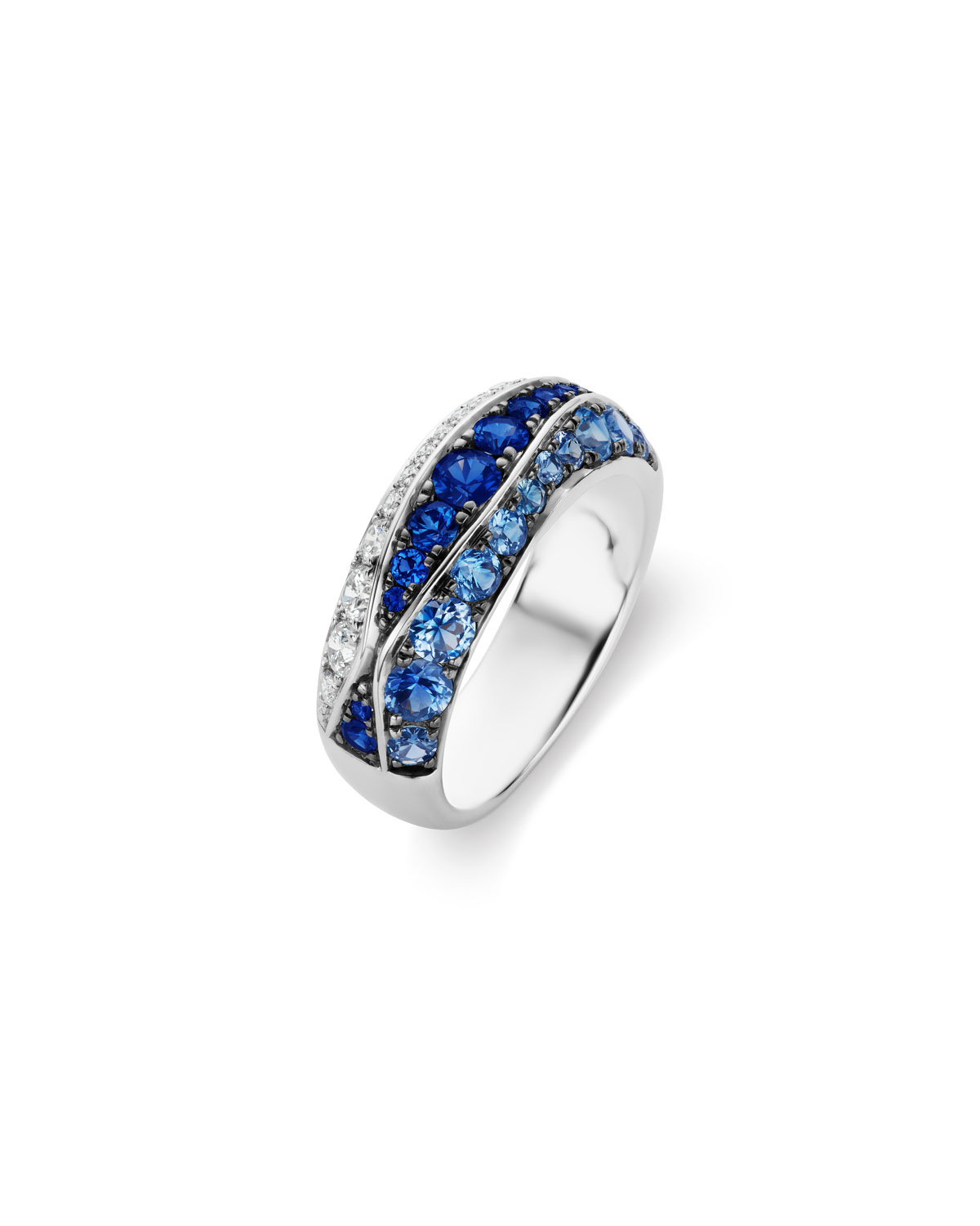 MARIA CANALE 18K White Gold Sapphire & Diamond Ring