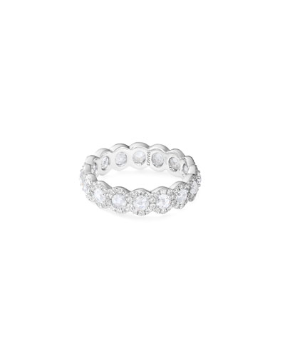 18k White Gold Rose-Cut Diamond Band Ring, Size 6