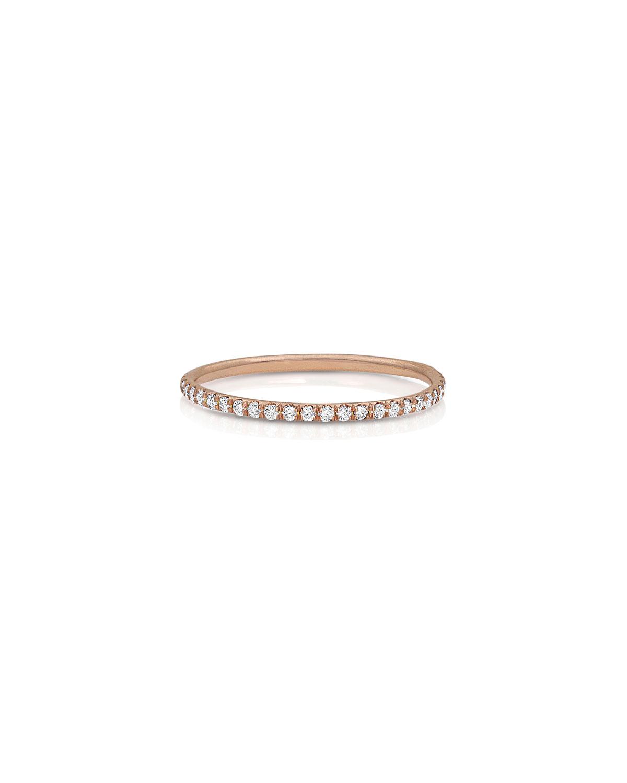 18k Rose Gold Diamond Delicate Stacking Ring