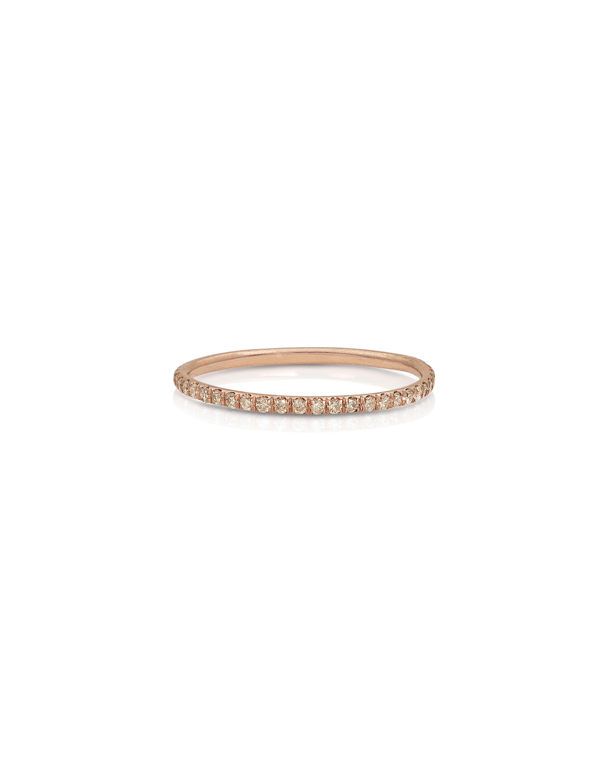 18k Rose Gold Champagne Diamond Delicate Stacking Ring