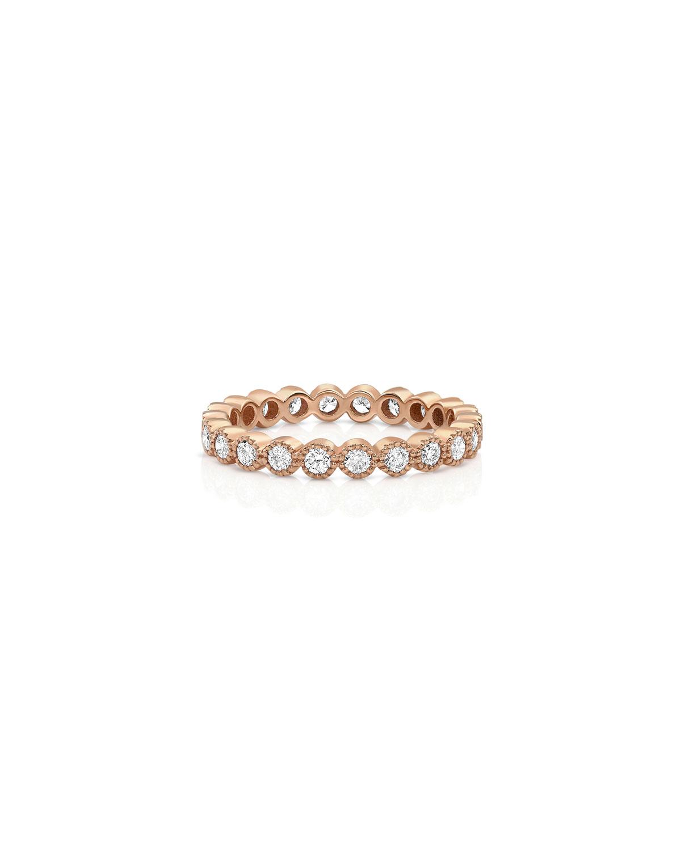 18k Rose Gold Diamond Milgrain Stacking Ring (Large)
