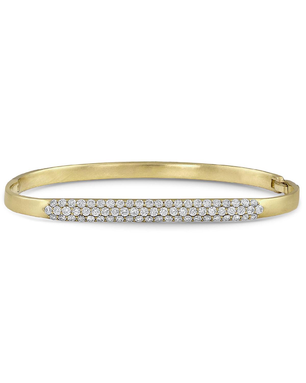 18k Gold Classic Diamond Hinged Huggie Bangle Bracelet
