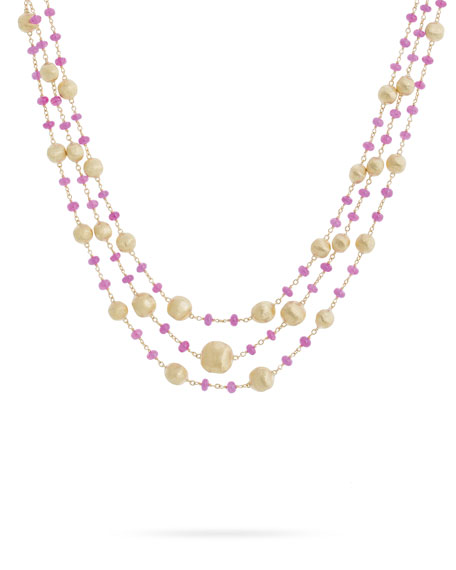 Marco Bicego Africa 18k Gold Ruby 3-Strand Necklace