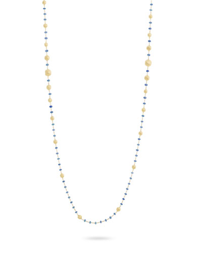 18k Gold Africa Sapphire Long Necklace