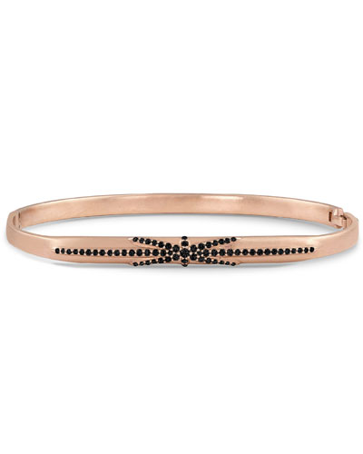 18k Rose Gold Northstar Black Diamond Hinged Huggie Bangle Bracelet
