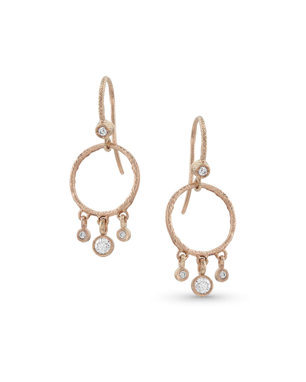 18k Rose Gold Diamond Hoop Drop Fringe Earrings