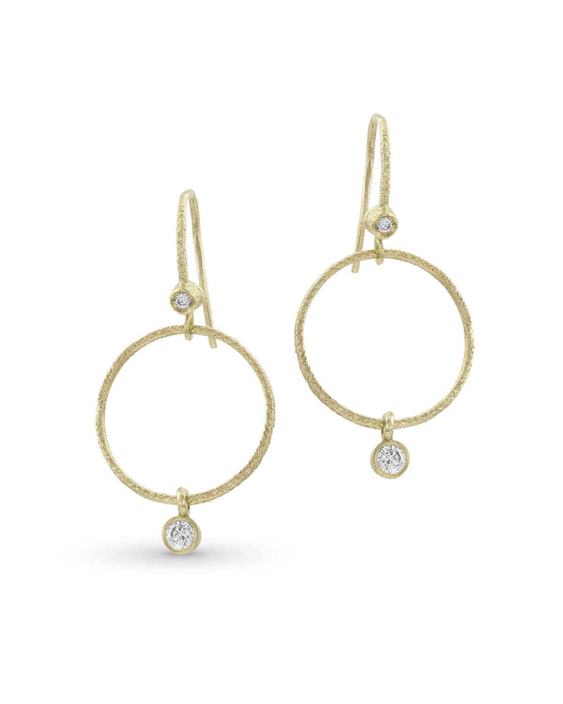 Textured 18k Gold Diamond Hoop Drop Earrings