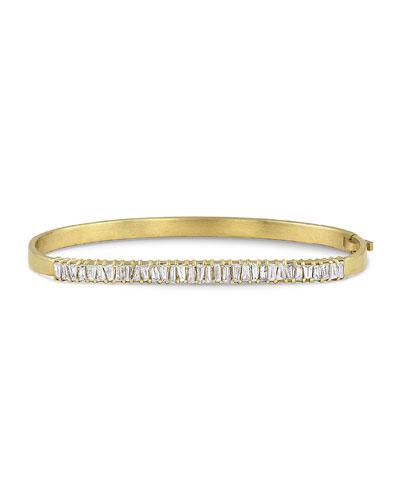 18k Gold Diamond Hinged Bangle Bracelet