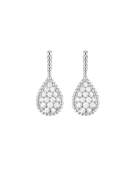 Boucheron Serpent Boheme 18k White Gold Diamond Teardrop Earrings