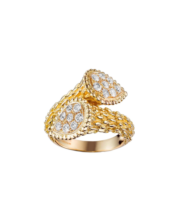 Boucheron SERPENT BOHEME 18K GOLD DIAMOND BYPASS RING