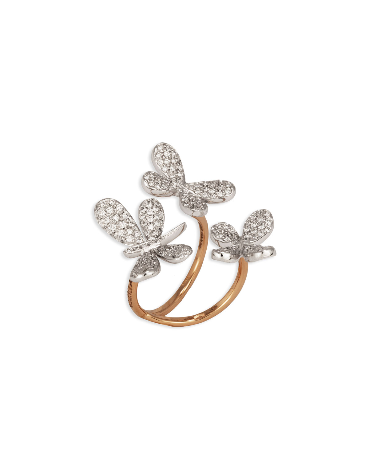 STAURINO FRATELLI Nature 18K Diamond Butterfly & Dragonfly Ring, Size 7