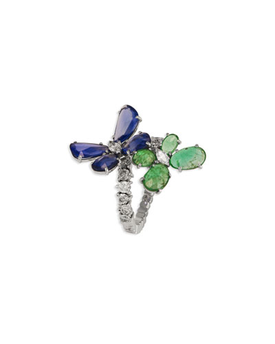 18k White Gold Diamond, Emerald & Sapphire Nature Ring