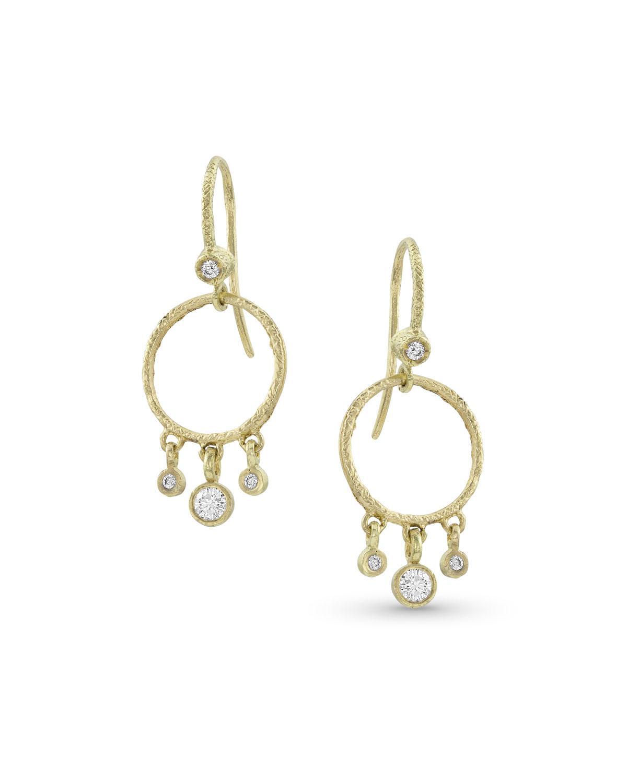 18k Gold Diamond Hoop Drop Fringe Earrings