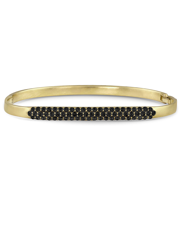18k Gold Black Diamond Hinged Huggie Bangle